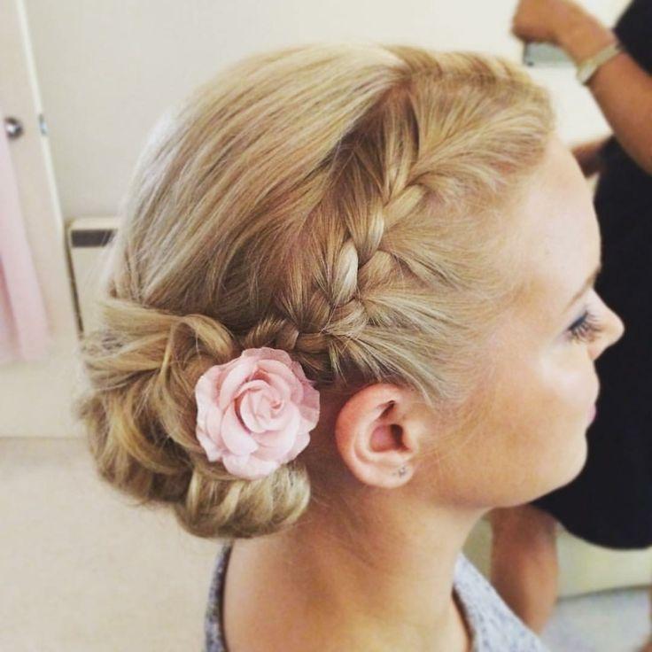 Braid hair style updo for bridesmaid