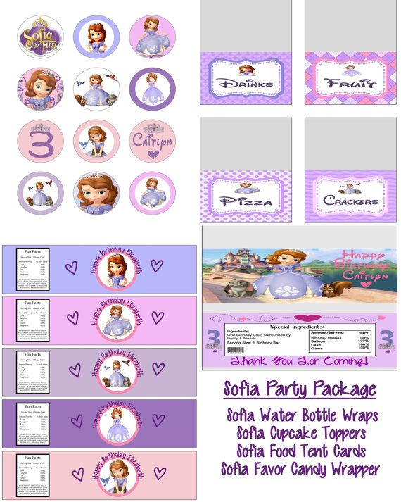 Disney Princess Sofia the First Birthday Party Printable Lot Package Favors and More. $15.00, via Etsy.