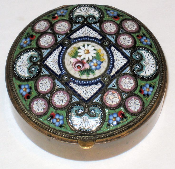 Antique Italian Micromosaic Ladies Compact