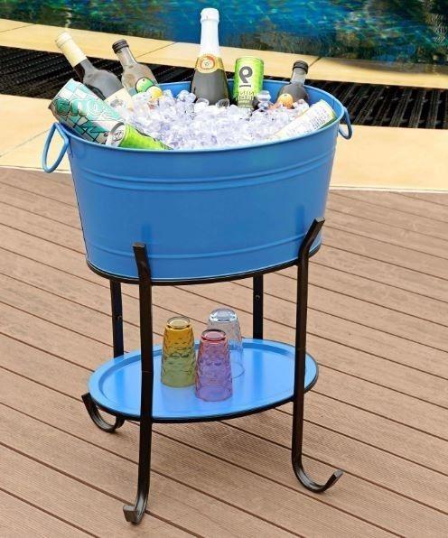 """Outdoor Beverage Tub Steel 26"""" Party Ice Bucket Wine Beer Bottle Cooler Vintage #Sunjoy"""