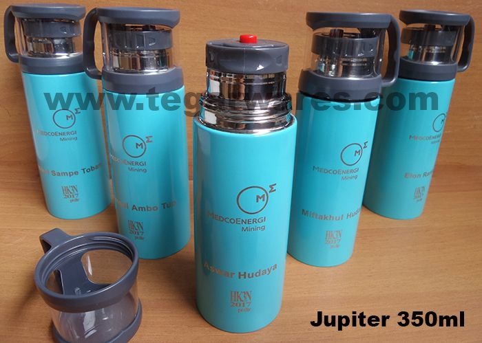 A  blue sky Jupiter vaccuum flask capacity 350ml with personalized employee's name to be distributed to all staff and field workers for Peringatan Hari Keselamatan dan Kesehatan Nasional (HK3N) -National Commemoration Day of Occupational Safety and Health- ordered by PT Duta Tambang Rekayasa (DTR) a coal mining company, a subsdiary of PT Medco Energy Mining Tbk, located in Nunukan North Kalimantan Indonesia