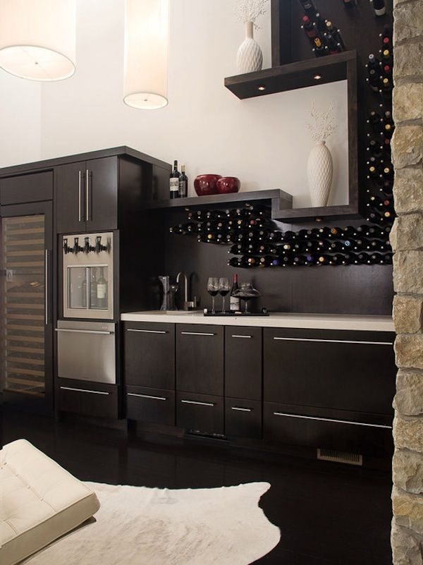 Espresso Finish | Wood Cabinetry | Bottle Display | Wine Wall | Wine Cellar | Custom Design | Home Ideas