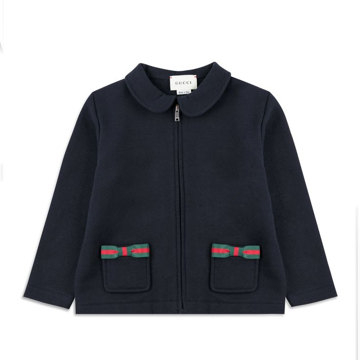 GUCCI Baby Girls Bow Zip Up Top - Navy Girls jersey sweat • Soft stretchy cotton • Full zip fastening • Peter-Pan collar • Two front pockets • Web trim bows • Made in Italy • Material: 85% Cotton, 15% VIscose