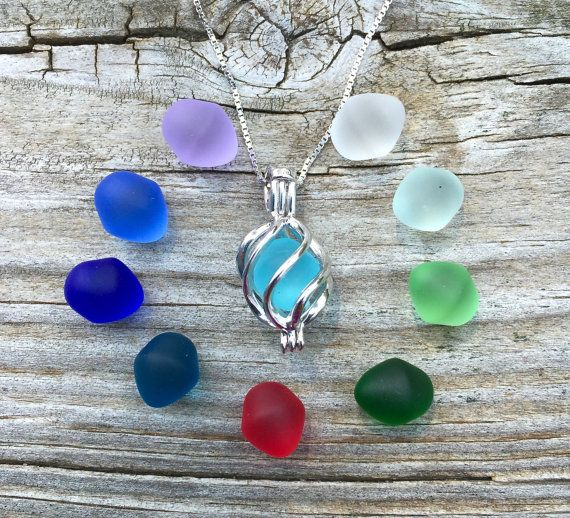 Colorful Sea Glass Set Sterling Silver Swirl Cage  by WaveofLife