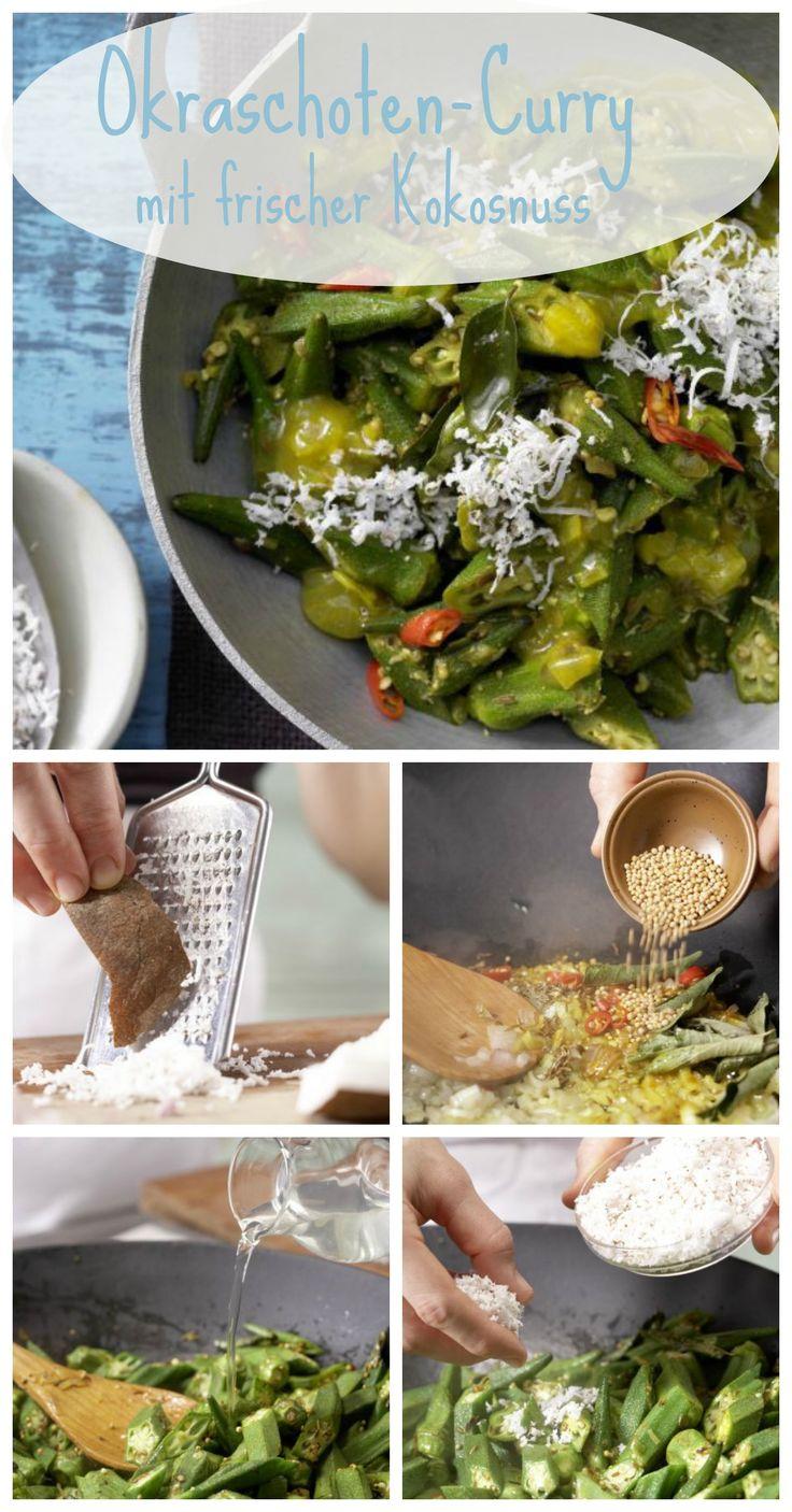 Das aufregend gewürzte Curry hat nur 108 Kalorien: Okraschoten-Curry mit frischer Kokosnuss | http://eatsmarter.de/rezepte/okraschoten-curry
