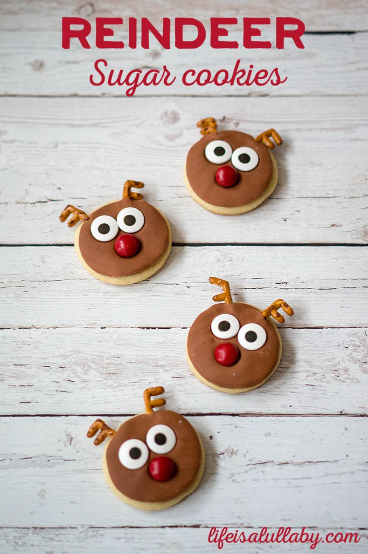 Reindeer Sugar Cookies for Christmas