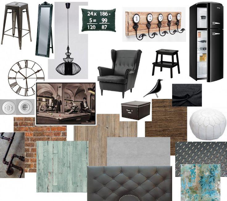 Concept board - navodí atmosféru budoucího interiéru. Reálné materiály a kusy nábytku.