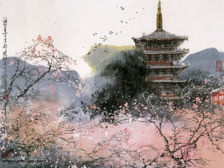 Modern Chinese Paintings : CHinese Brush Paintings - Chinese Ink Paintings by Liu Maoshan   1024*768 NO.21 Wallpaper