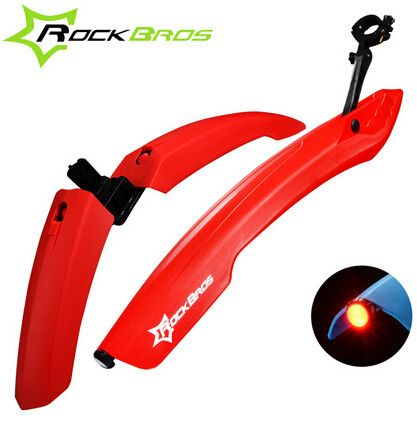 ROCKBROS Flectional Mountain Bike Cycling Front Rear Mudguard Set Bicycle Durable Fenders with LED Rear Light, Bike Accessories