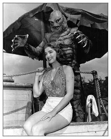 """Julie (Julia) Adams & Gill-man. """"Creature from the Black Lagoon"""" 1954, directed by Jack Arnold. Behind the scenes photos. #cinema #film #horror"""