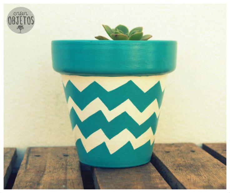 Macetas pintadas a mano con cactus y suculentas - tamaño nº10 - colores a elección - <picos>