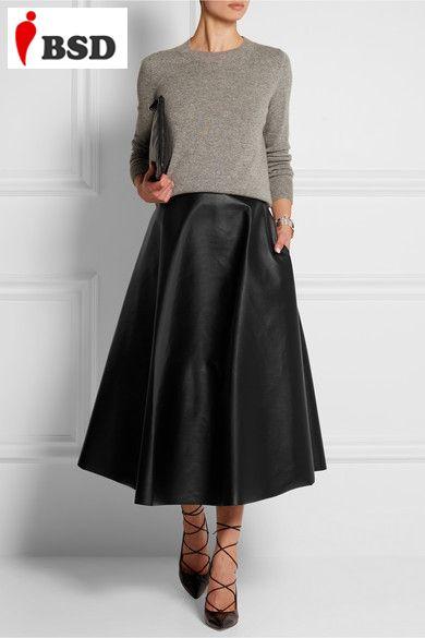 Зима женщин макси юбка искусственная кожа длинные юбки тонкая талия 2015 осень старинные мода европа и америка тонкий юбка черный V2G45