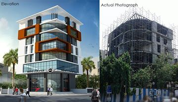 Perspective view and actual view at site....  #Commercial #building #stunning #elevations #Unique #design  #Architectural #Rendering #Animation done by #3dpower  For more details call : 09372032805 OR visit our website www.3dpower.in