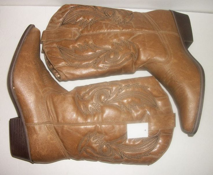 Womens Western Camo Cowgirl Boots Tan/Blonde Heel Cowboy Boots #HotTomato #FashionMidCalf