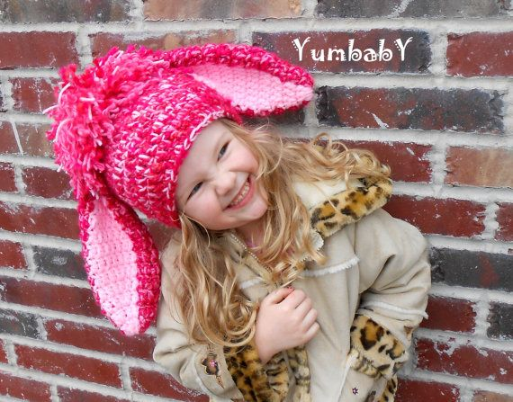 Bunny Hat for Girls with Floppy Ears Pink Bunny Photo by YumbabY, $29.95 #easter #bunny #bunnies #etsy #photoprops #bunnyhats