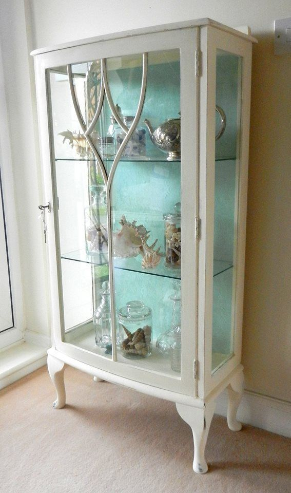 CUSTOM PAINTED Vintage/ Antique Curio Cabinet by ForgetMeNotsCottage, $495