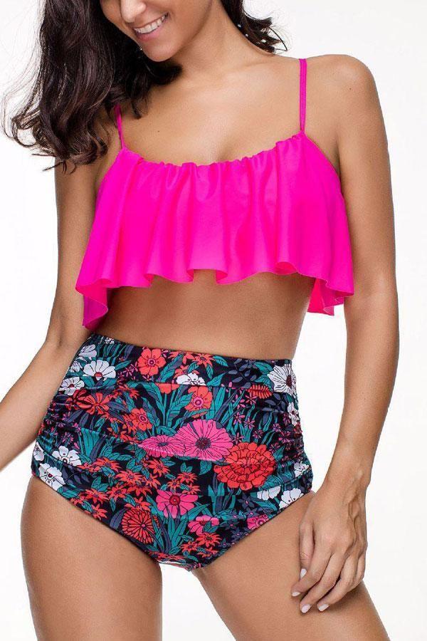 d77b174dc7f8c Beachsissi ruffle top two piece #swimsuit #swimwear   Happy ...