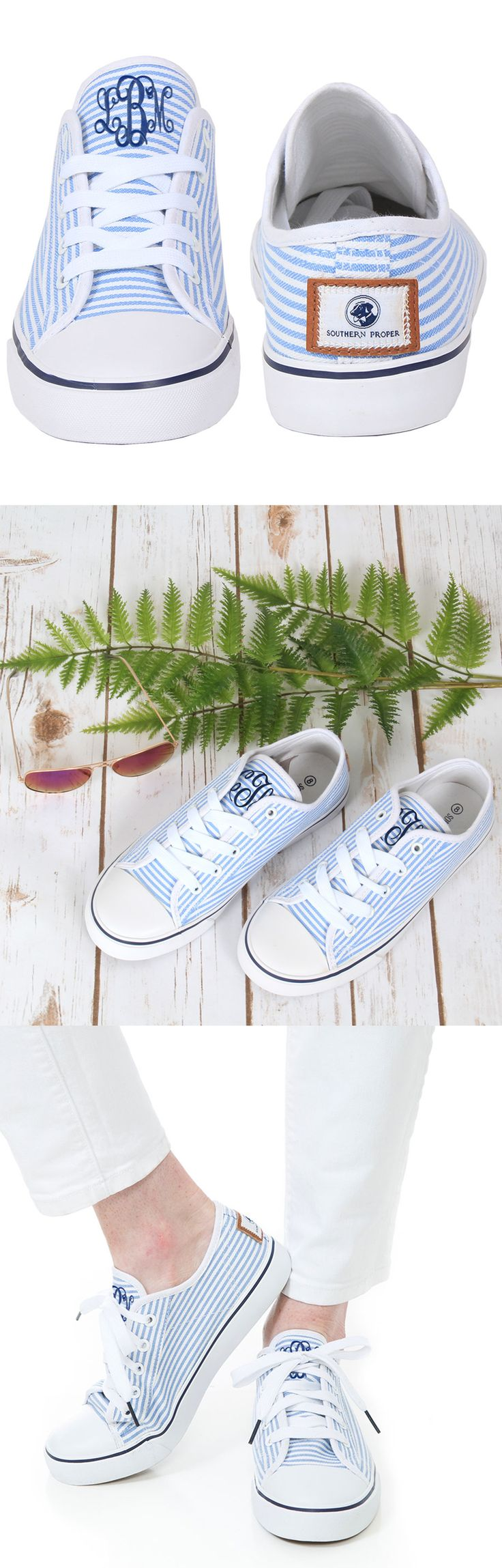 Show off your preppy side with these seersucker Monogrammed Allison Lace Ups! #SoutherProper #marleylilly #monogrammed
