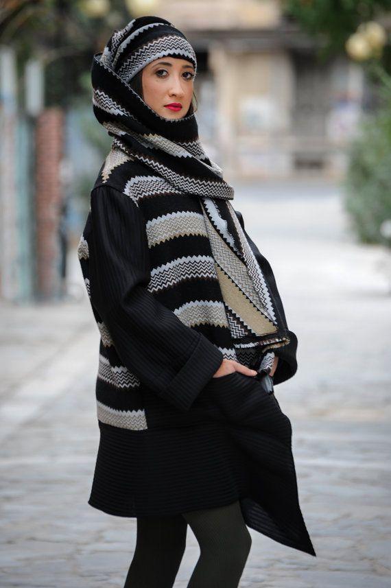 wrap jacket long hooded  loose asymmetrical by paraskeloufashion