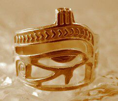 Eye of Horus Ring egypt Scarab beetle Ankh Gold Plated Over real Sterling silver .925 Jewelry