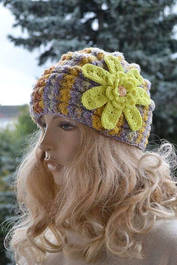 Big flower knitted cap in flower  lovely warm by DosiakStyle, #flowerknittedcap
