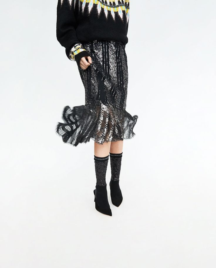 RUFFLED SKIRT WITH SEQUINS-View all-SKIRTS-WOMAN | ZARA United Kingdom