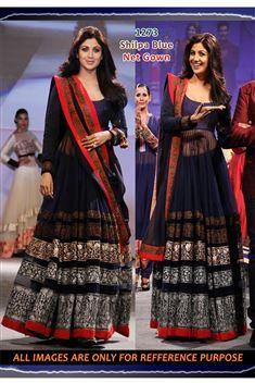 Shilpa Shetty Blue Net Replica Gown