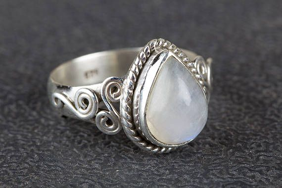 Moonstone Ring Rainbow Moonstone Ring  Pure Sterling Silver