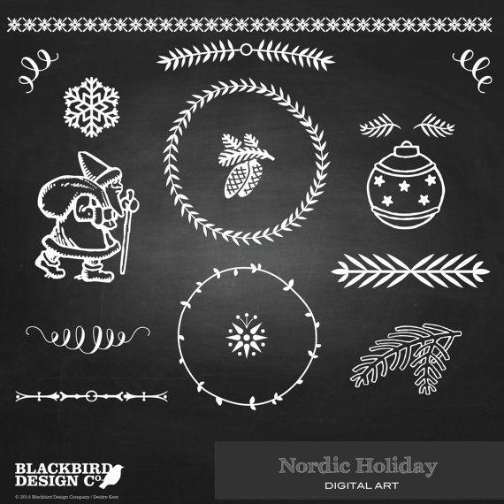 Nordic Holiday Chalkboard Clipart  Digital by BlackBirdsDesigns, $4.00