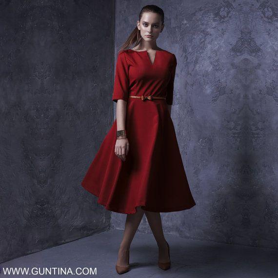 Abito da sposa rosso, vestito di Full Circle, sciolto tunica, Abito tunica lunga, Rockabilly vestito, Plus Size Abito lungo, Party Fashion Dress, abito Pinup