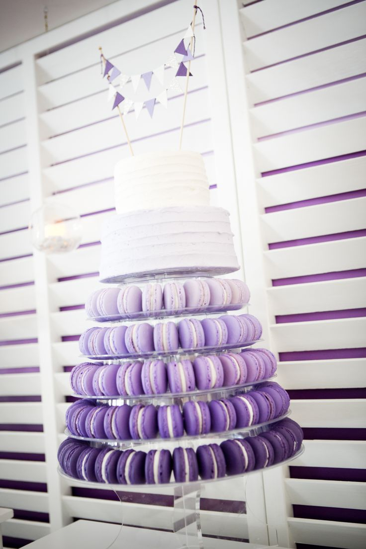 Purple Ombre Macaron Tower With Two Tier Cake Macarons