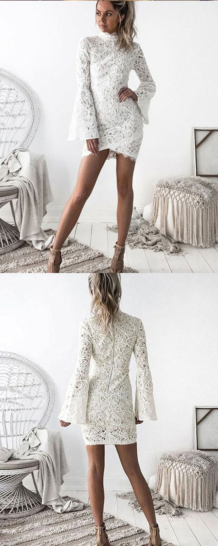 High Neck Ivory Lace Tight Graduation Dress With Bell Sleeves Hd3040 Formal Dresses Short Prom Dresses Short Short Dress Styles [ 1750 x 700 Pixel ]