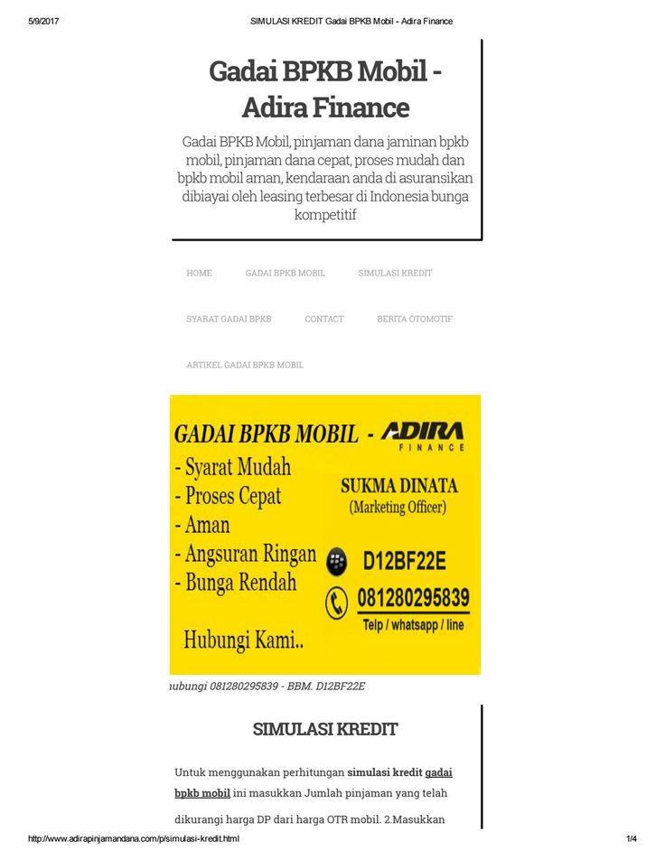 Simulasi kredit gadai bpkb mobil adira finance