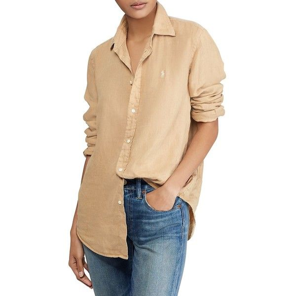 59e1627e2 Polo Ralph Lauren Women's Relaxed-Fit Linen Button-Down Shirt ($99) ❤ liked  on Polyvore featuring tops, tan, polo button down shirts, long sleeve polo  ...