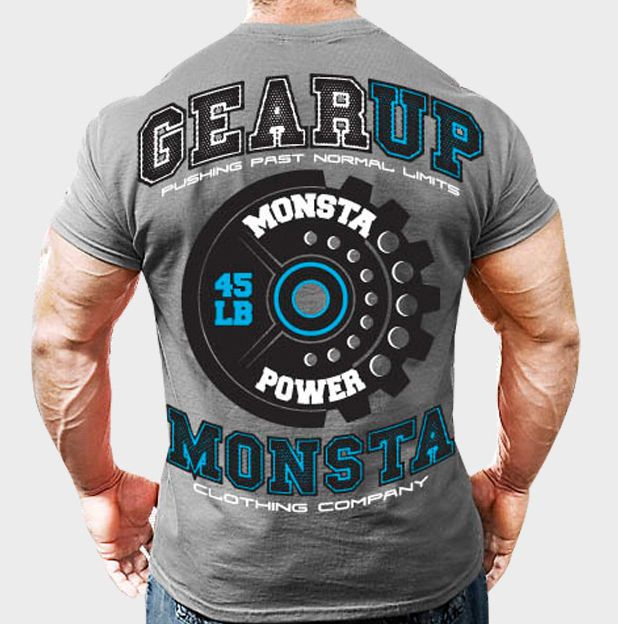 NEW Mens Workout MONSTA Bodybuilding Gym Clothing Gear Up Graphic T Shirt #MONSTA #GraphicTee