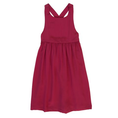 Minouche_Noelle silk pinafore - persian red - The Child Hood