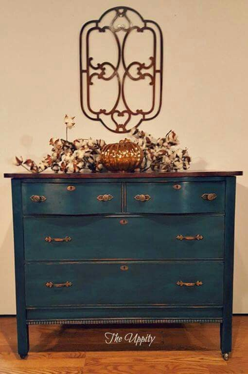 Introducing Dakota!  Dresser painted in a Mix of Aubusson and Antibes. Black wax only. Copper gilding on the hardware. Top Faux painted to resemble Burl wood with General Finishes Gel Stains and Water based stains.