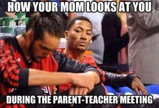 A student's face when... his dad won't take his eyes off of him during the parent-teacher conference.