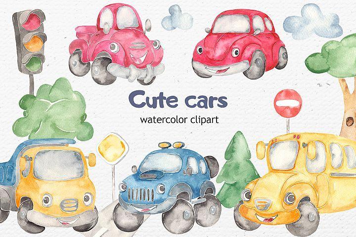 Download Watercolor Cute Cars Beetle Jeep School Bus Truck Pickup 310102 Illustrations Design Bundles Cute Cars Clip Art Watercolor Clipart