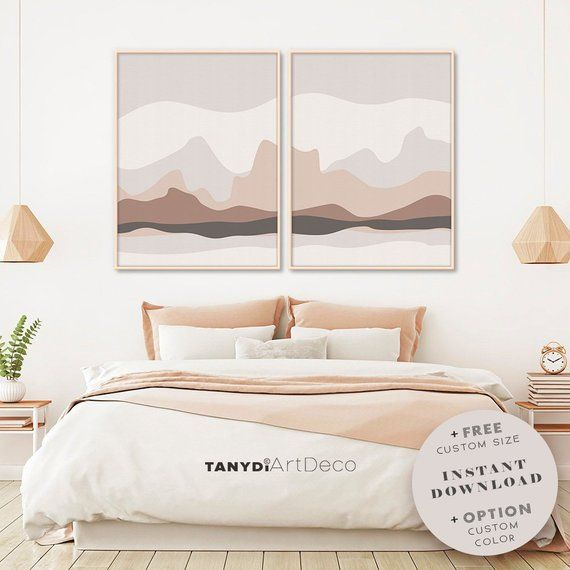 Set Of 2 Abstract Nature In Neutral Blush And Brown Bedroom Large Poster Diptych Minimalist Mountains Hills Gallery Boho Wall Art Large Abstract Wall Art Pastel Colors Art Large Abstract