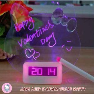 JAM LED DIGITAL PAPAN TULIS NYALA HELLO KITTY