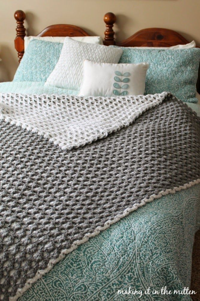 Making It In The Mitten: Crocheted Double-Sided Shell Blanket Pattern | Learn how to crochet a double-sided blanket with this tutorial