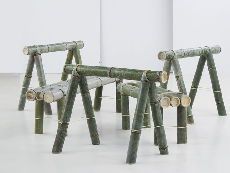 the bamboo trestle and seating pieces have been designed to be delivered in a rather small packing unit, making it ideal for sale online, and is easily assembled.
