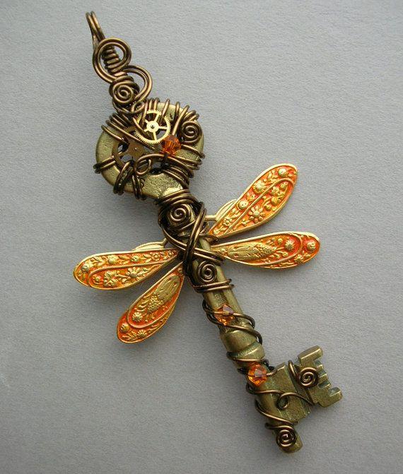 Steampunk Dragonfly Wire Wrapped Key Pendant -- Orange Dragonfly Winged Clockwork Key with Gears, Swarovski Crystals (A Key to Time)