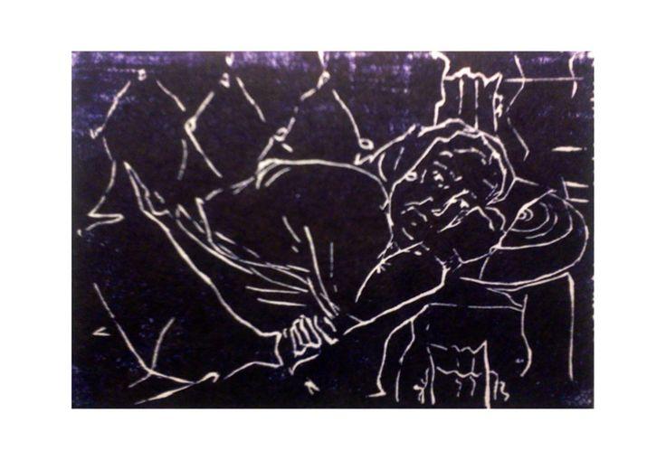 nonnamarianna libro fatto a mano con xilografie 1 matrice legno di pero di filo (1991/92)
