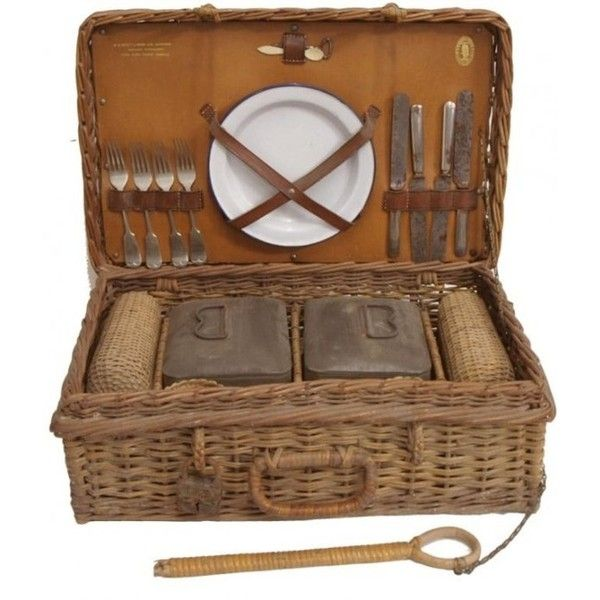 Pinterest / Search results for antique picnic basket found on Polyvore featuring home, kitchen & dining, food storage containers, basket, accessories, fillers, food, food baskets, antique picnic basket and antique basket