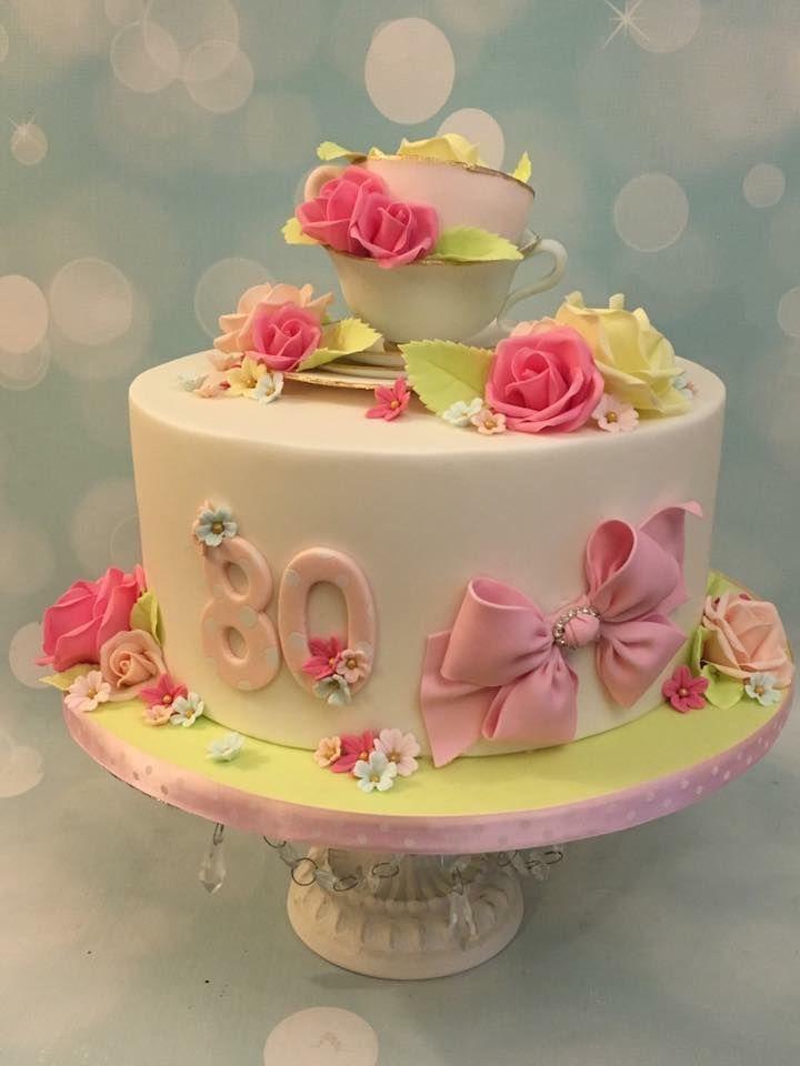 Pretty Girl Flower Birthday Celebration Teacup Cake Roses Flowers Bow Beautiful Birthday Cakes 80 Birthday Cake Vintage Cake