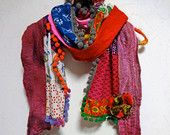 NEW - Bohemian Gypsy Wool Felted Multi Color Scarf