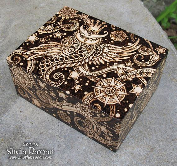 Celestial Owl Box - decorative woodburning pyrography