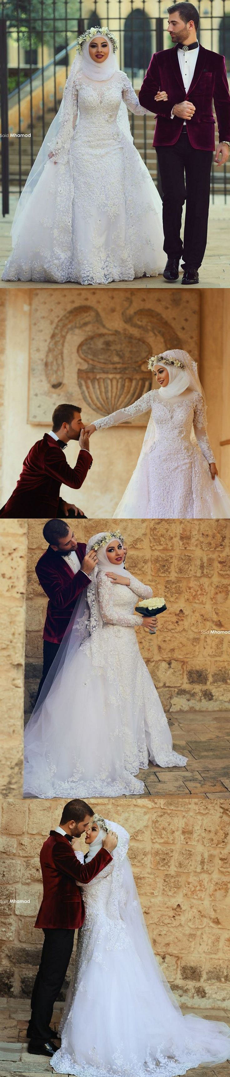 High Neck Islamic Long Sleeve Muslim Wedding Dress Detachable Train Arab Hijab Wedding Dress 2016 Robe De Mariage Musulman